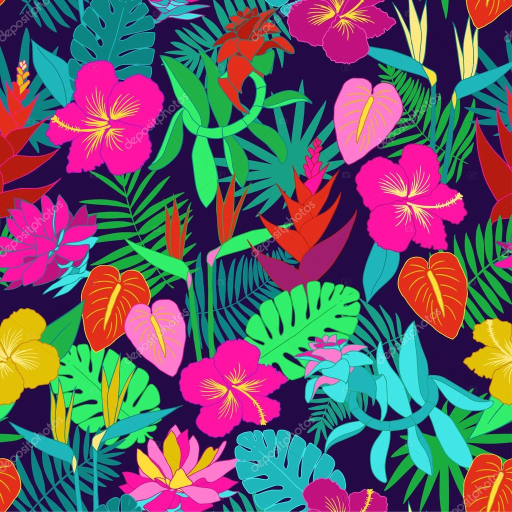 Seamless tropical jungle floral pattern