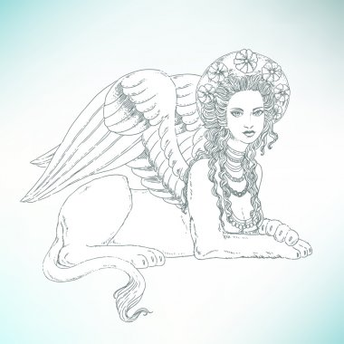 Sphinx, mythical creature symbol.