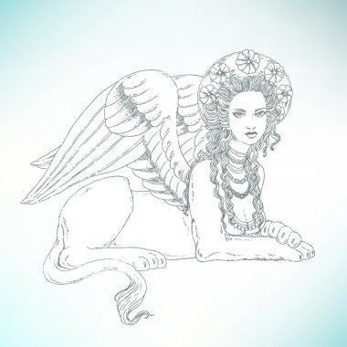 Sphinx, mythical creature symbol.