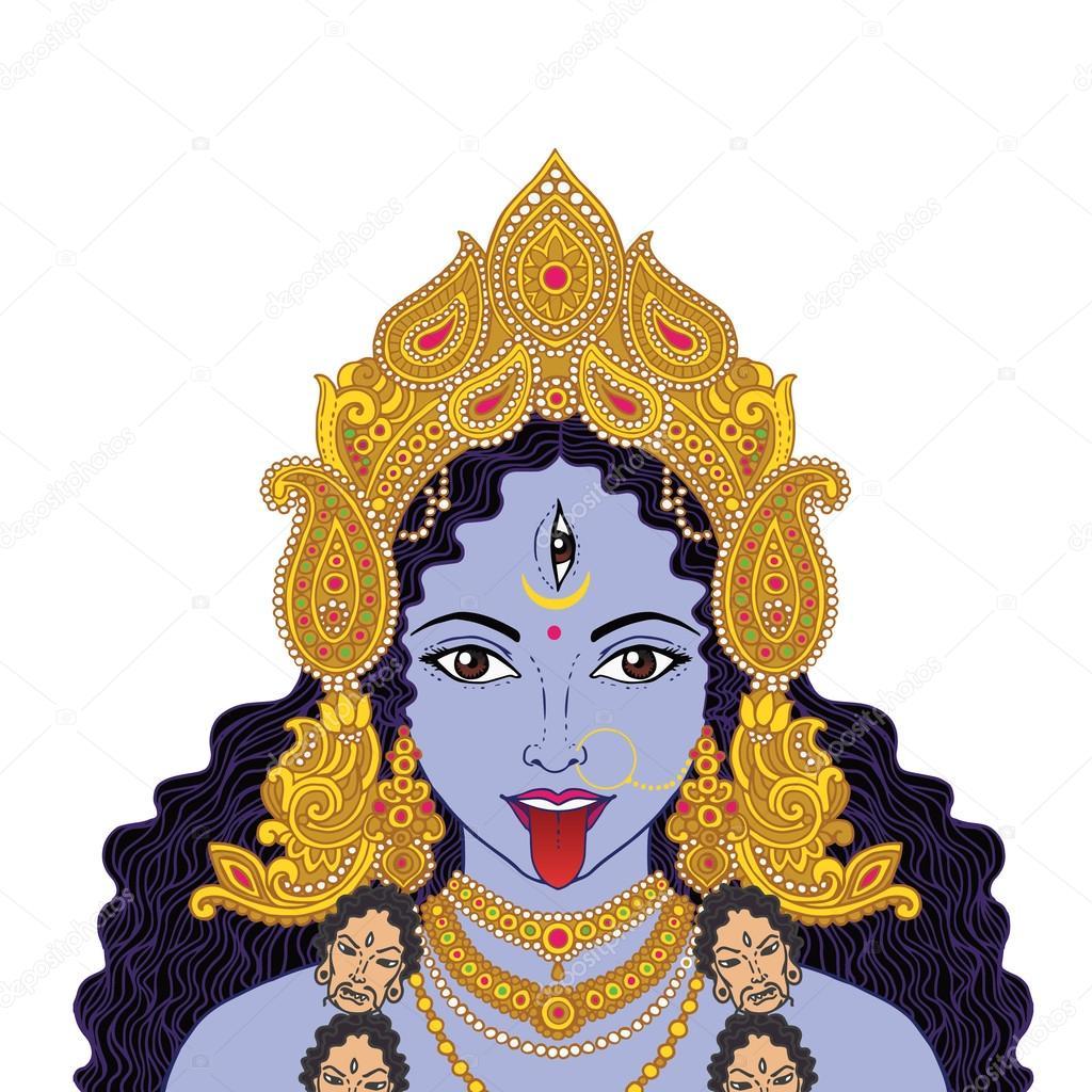 Indian Hindi Goddess Kali Stockvektor Mazeina 109946564