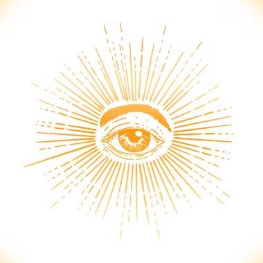 All seeing eye inside delta triangle pyramid
