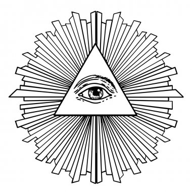 All seeing eye inside delta triangle pyramid