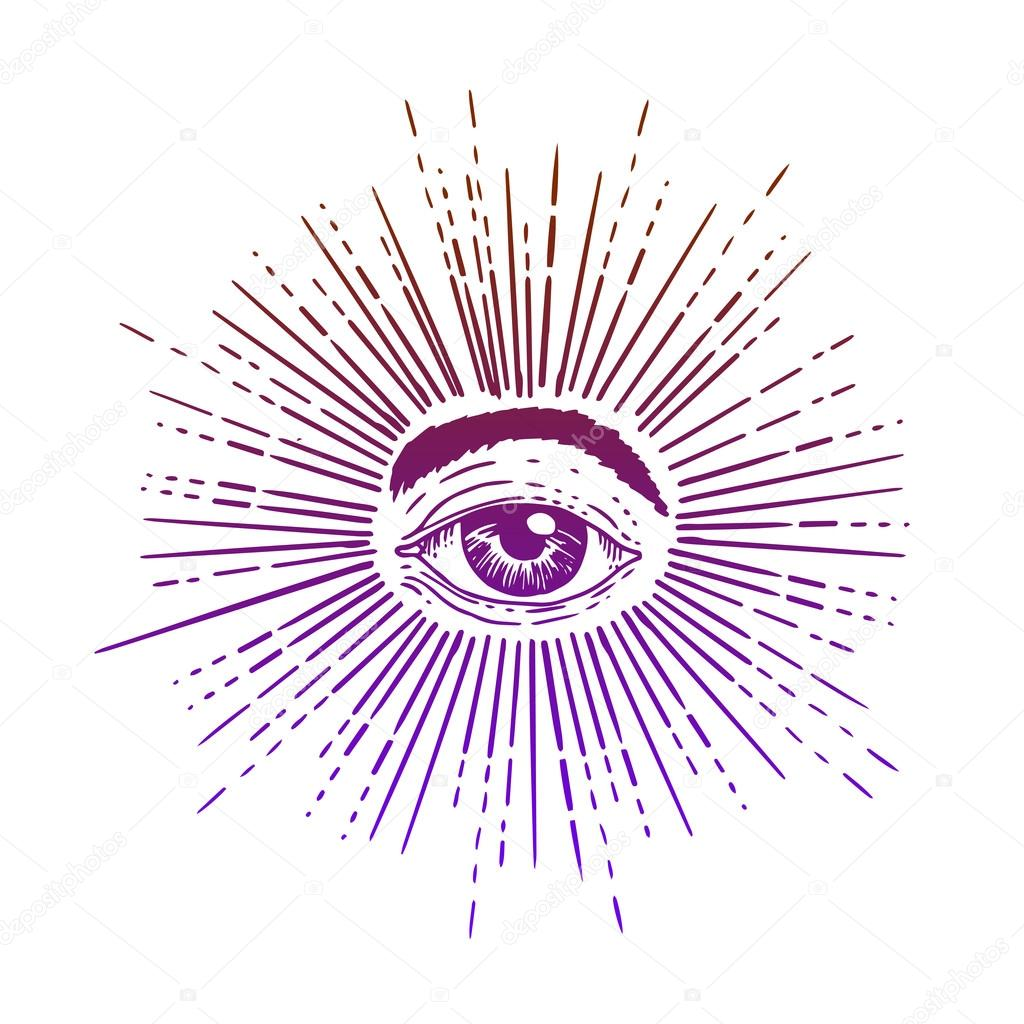 All Seeing Eye Inside Delta Triangle Pyramid Stock Vector