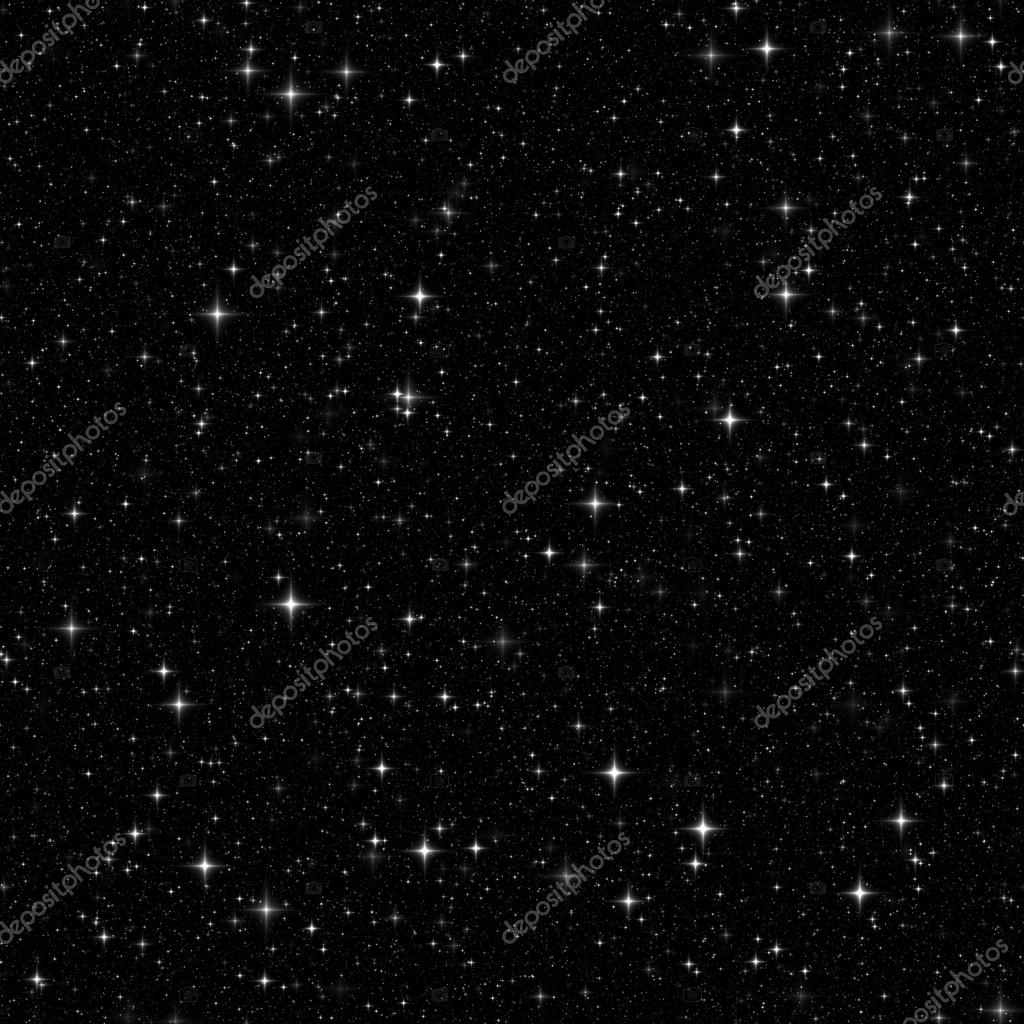 Black space with many stars. Seamless pattern, texture, backgrou