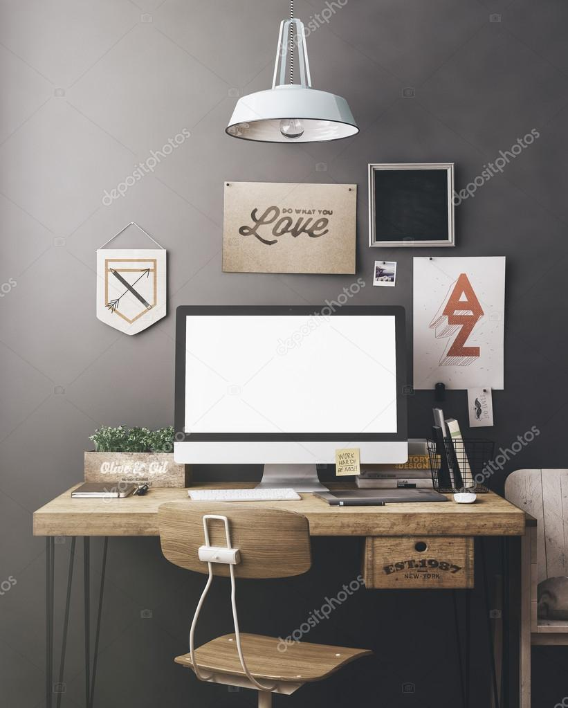 Stylish workplace mockup