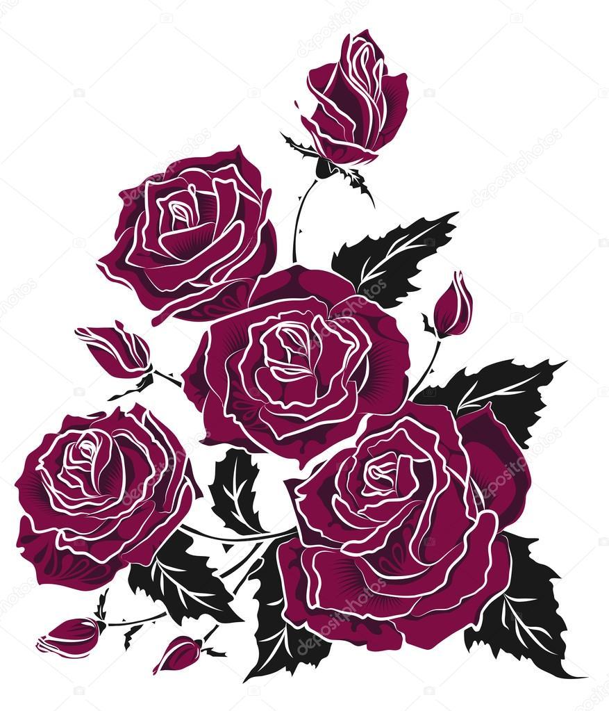 Imagenes Tatuajes De Rosas Rosas Bouquet Tatuaje Dibujo Vector