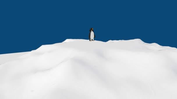 Kreslený tučňák je chůzi po sněhu