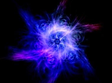 Blue fractal shine, digital artwork for creative graphic design