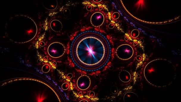 Barevné vířící kola v prostoru fraktální