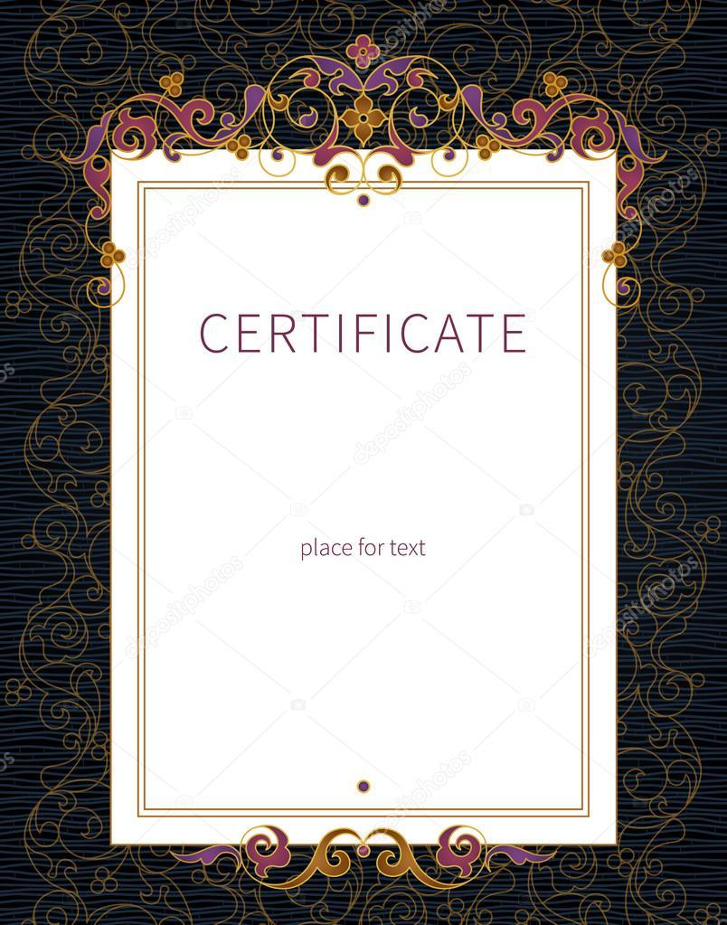 Zertifikat-Vorlage im östlichen Stil — Stockvektor © AnnaPoguliaeva ...