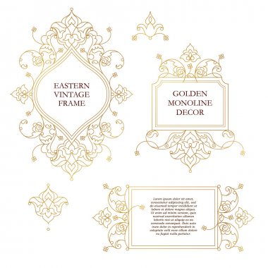 Set of Golden outline floral decor