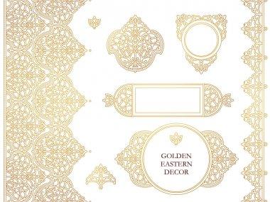 Set of Golden outline floral decor