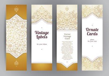 Set of golden floral vertical cards.