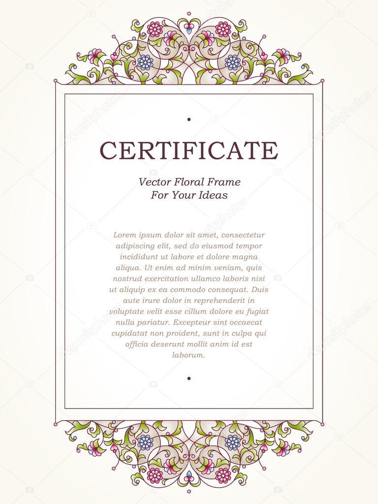Vektor-Zertifikat-Vorlage im östlichen Stil — Stockvektor ...