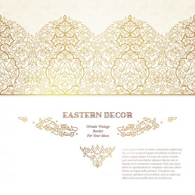 Vector set of vignettes and borders in Eastern style.