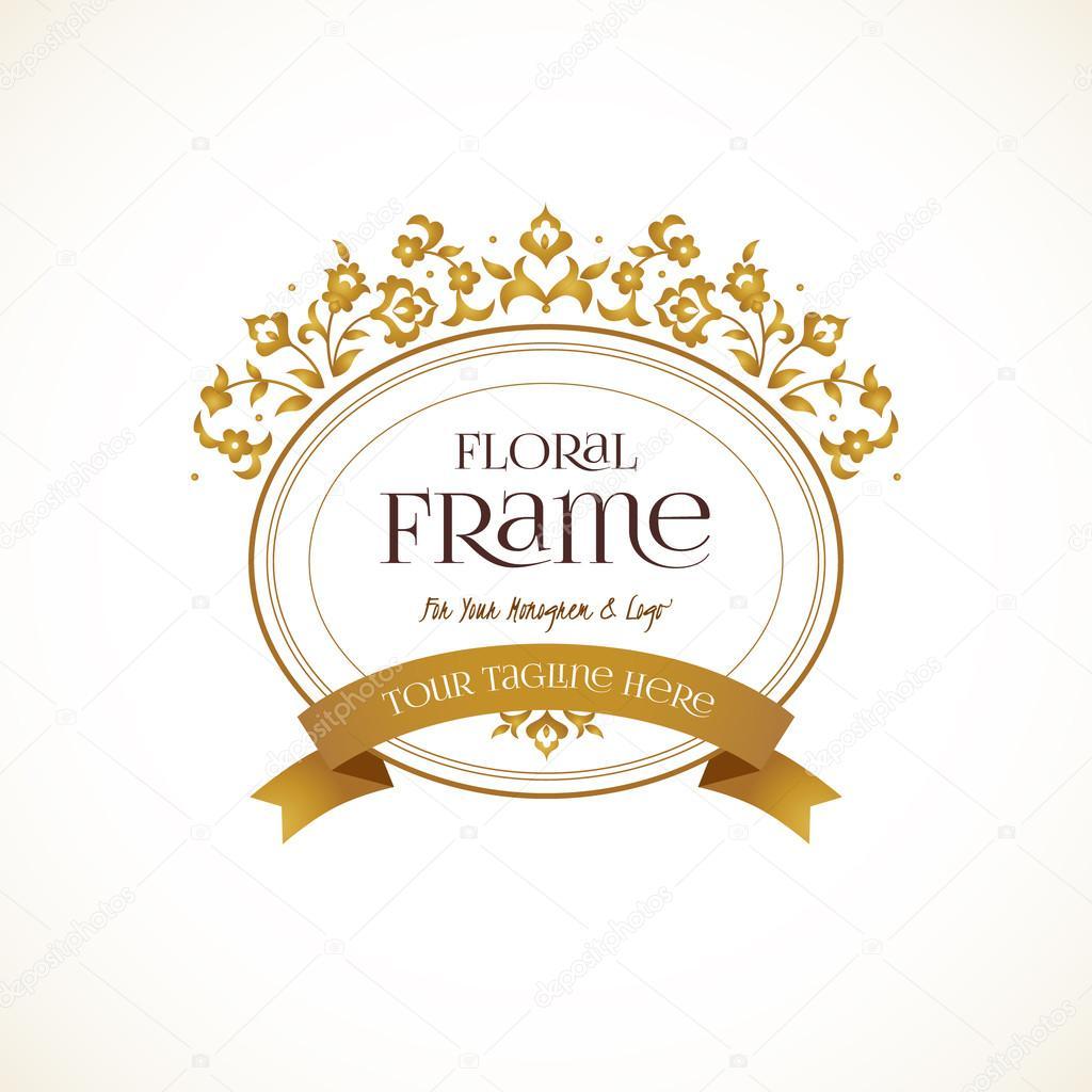 Golden logo template, ornate frame. — Stockvector © AnnaPoguliaeva ...