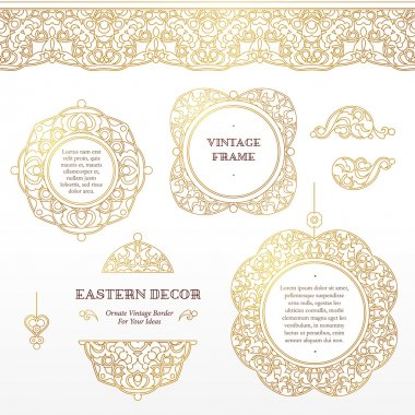 set of vignettes, borders in Eastern style.