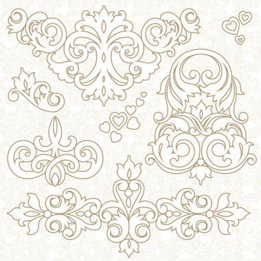 Set of ornament in Victorian style.