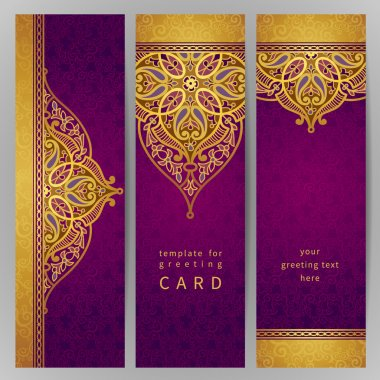 Vintage ornate cards in oriental style. Golden Eastern floral decor. Template frame for greeting card and wedding invitation. Ornate vector border and place for your text. stock vector