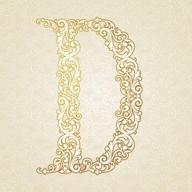 Gold font type letter D, uppercase.