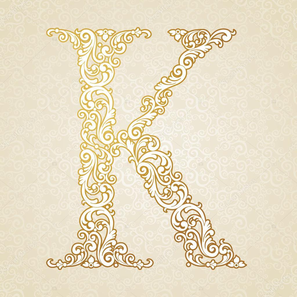 Gold Font Type Letter K Uppercase Stock Vector C Annapoguliaeva