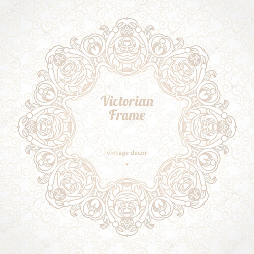 Filigran-Vektor-Frame im viktorianischen Stil — Stockvektor ...