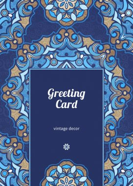 Vintage ornate card in Eastern style.