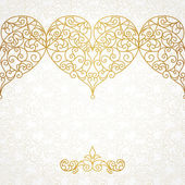 Ornate border with hearts in line art style.