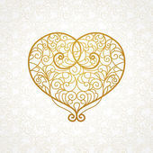 Ornate vector heart in line art style.