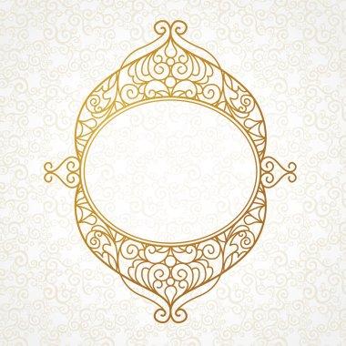 Filigree line art frame in Eastern style.