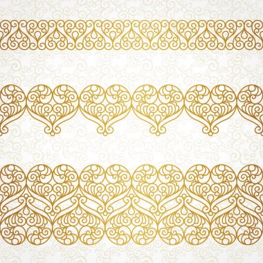 Ornate vector borders with hearts in line art style.