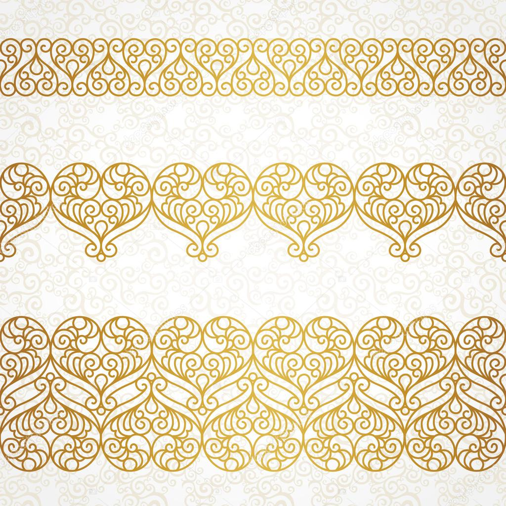 ornate vector borders with hearts in line art style