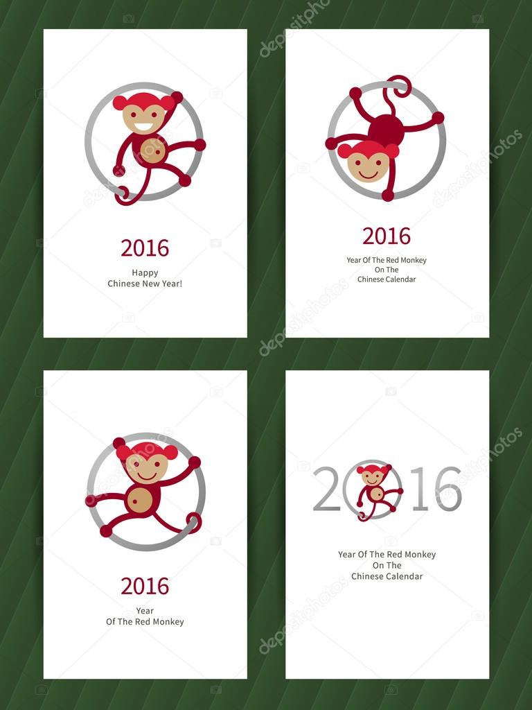 Greeting card with monkey, symbol of 2016.
