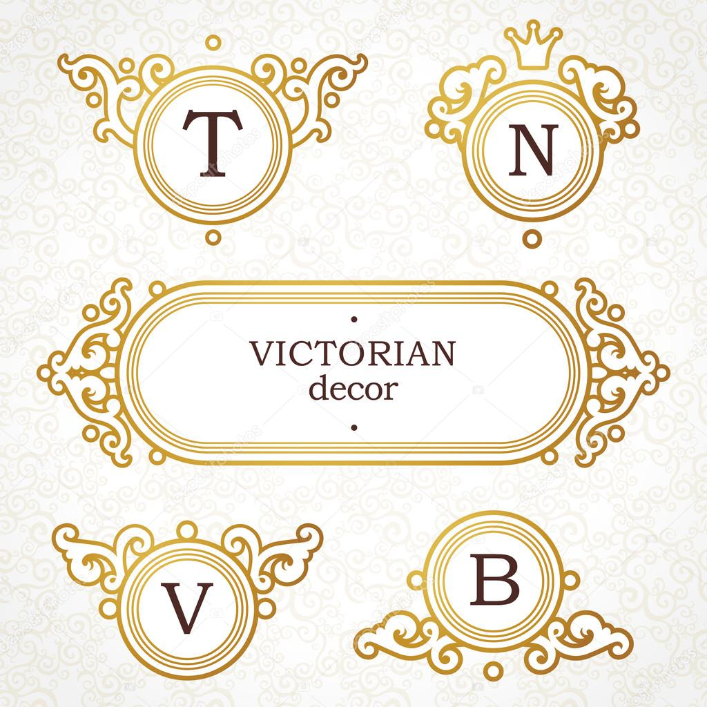 vector set of logo template in victorian style ornate golden element for design place for company name and slogan floral ornament for business card yelopaper Images