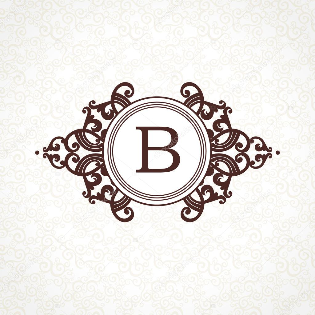 Logo Template In Victorian Style Stock Vector