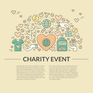 Card or poster template with charity and fundraising objects. Volunteer poster. Funsraising event card template. Vector illustration with place for your text. stock vector