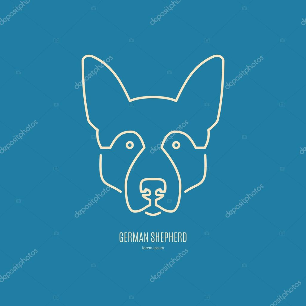 German Shepherd in modern line style