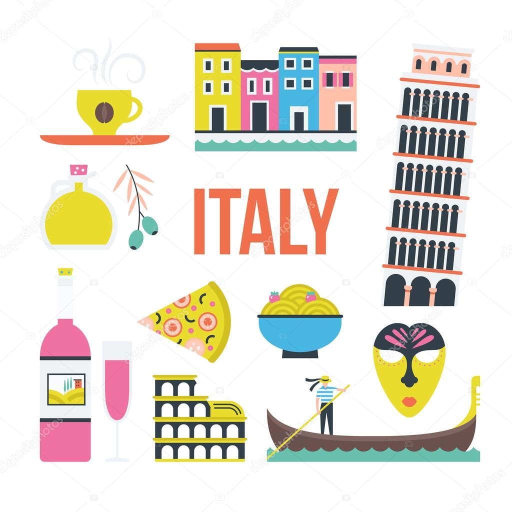 Set Of Italian Symbols Stock Vector Favetelinguis199 105211658