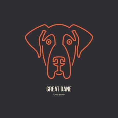 Portrait of great dane Logo