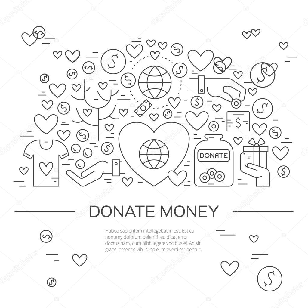 template with charity and fundraising objects vetores de stock