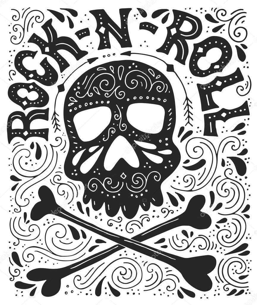 rock n roll poster and illustration of skull ストックベクター
