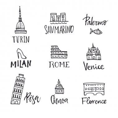 Main italian city symbols