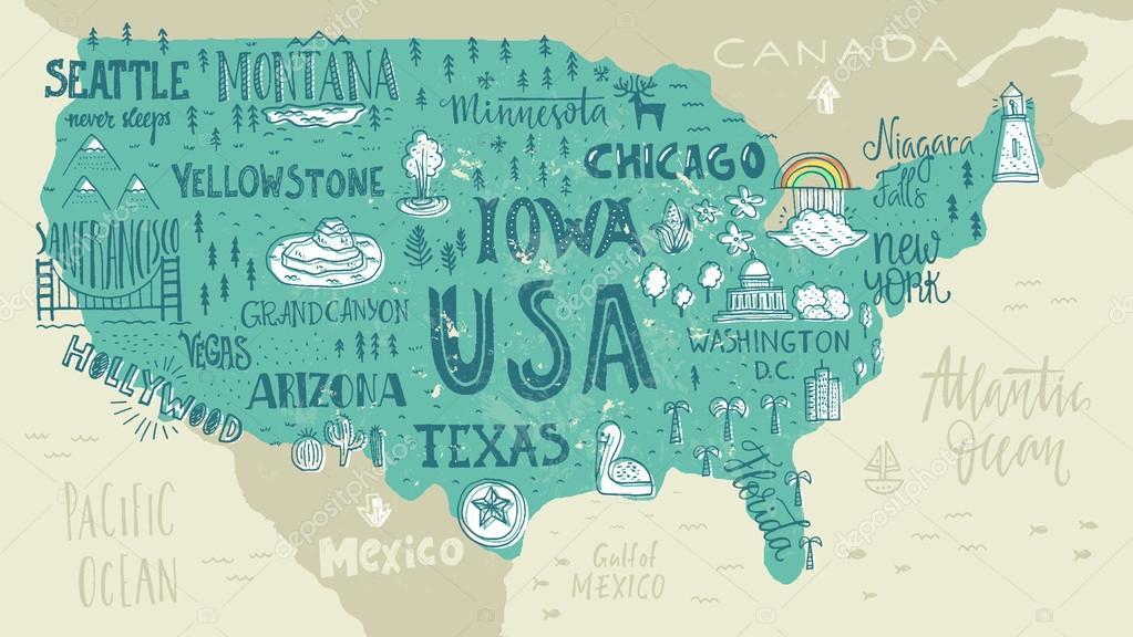 Handdrawn USA map — Stock Vector © Favetelinguis199 #112157326