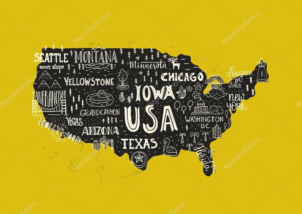 Handdrawn USA map — Stock Vector © Favetelinguis199 #112157332