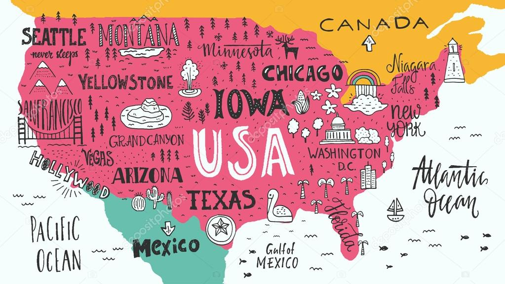 Handdrawn USA map — Stock Vector © Favetelinguis199 #112157382