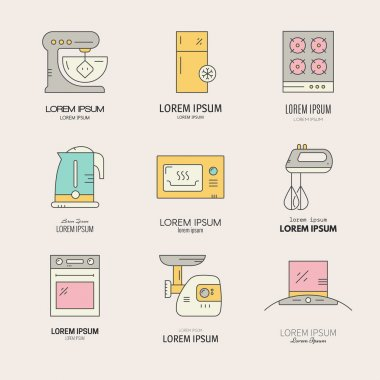 Collection of labels with different house appliances