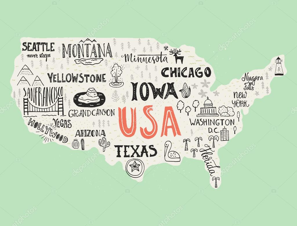 Hand Drawn Us Map.Handdrawn Map Of Usa Stock Vector C Favetelinguis199 118356372