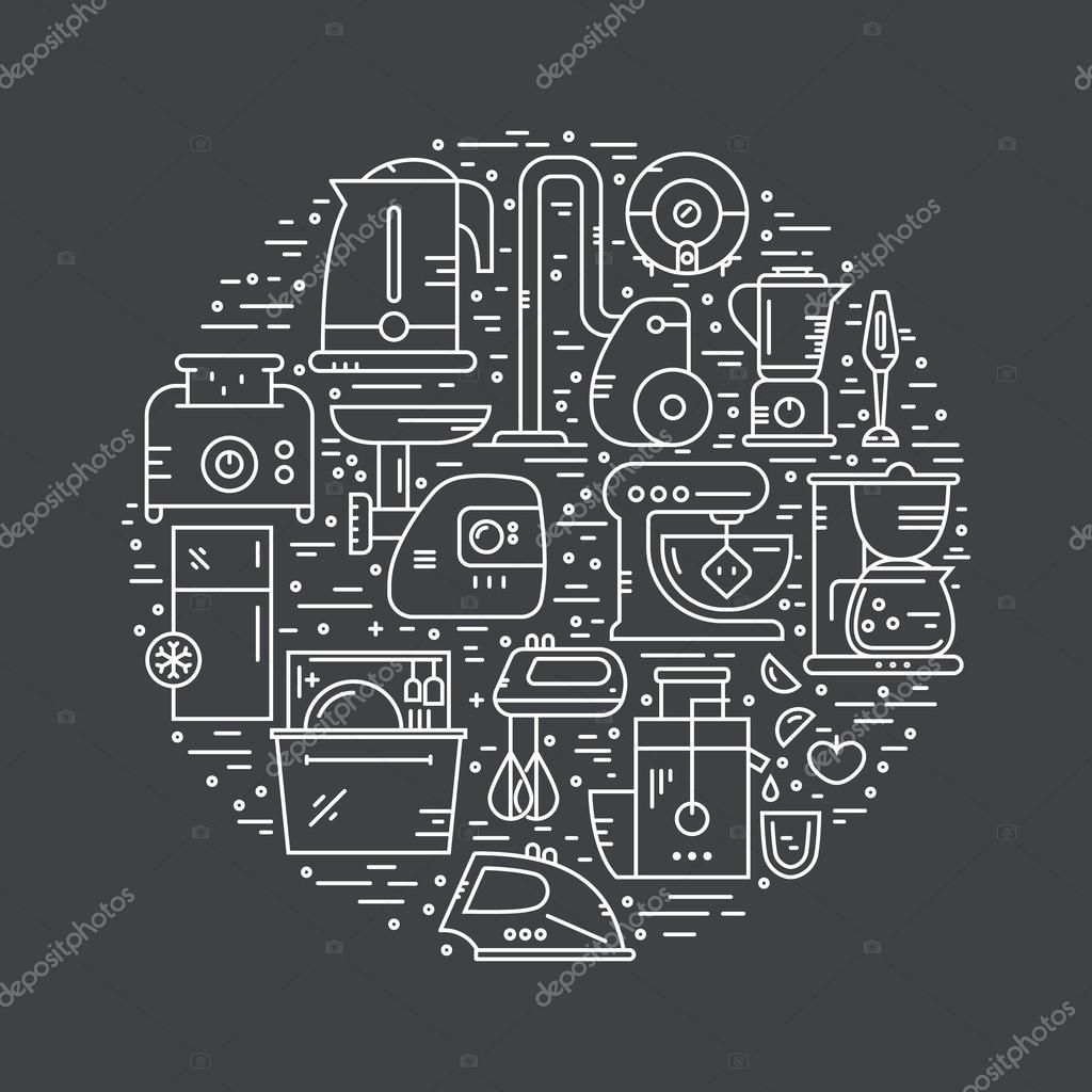 House appliances arranged in circle