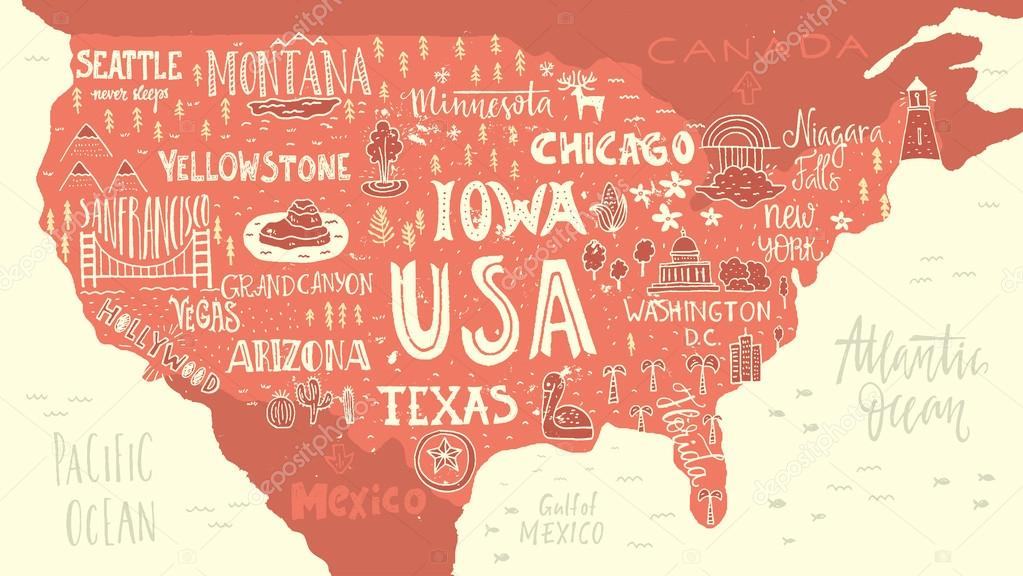 Handdrawn map of USA — Stock Vector © Favetelinguis199 #118357802