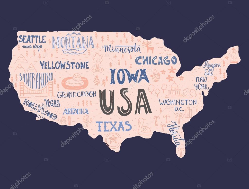 Handdrawn Map Of Usa Favetelinguis199